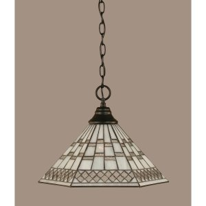 Toltec Matte Black Finish Steel 1-Light Pendant With Tiffany Glass Shade