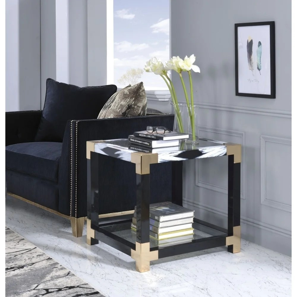 Modern Style Square Metal and Glass End Table With Bottom Shelf, Black and Gold
