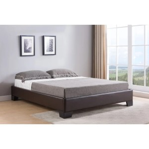 Leatherette Upholstered Wooden Queen Platform Bed with Tapered Legs, Brown