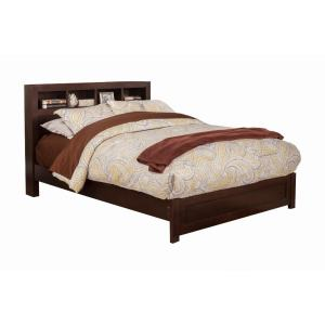 Wooden Queen Size Platform Bed with Bookcase Headboard, Brown