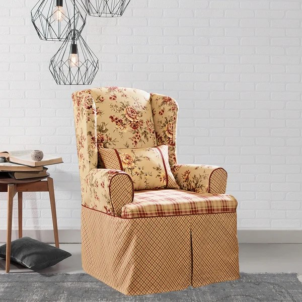 Shop Sure Fit Lexington Taupe Washable Wing Chair Slipcover  On Sale  Free Shipping Today