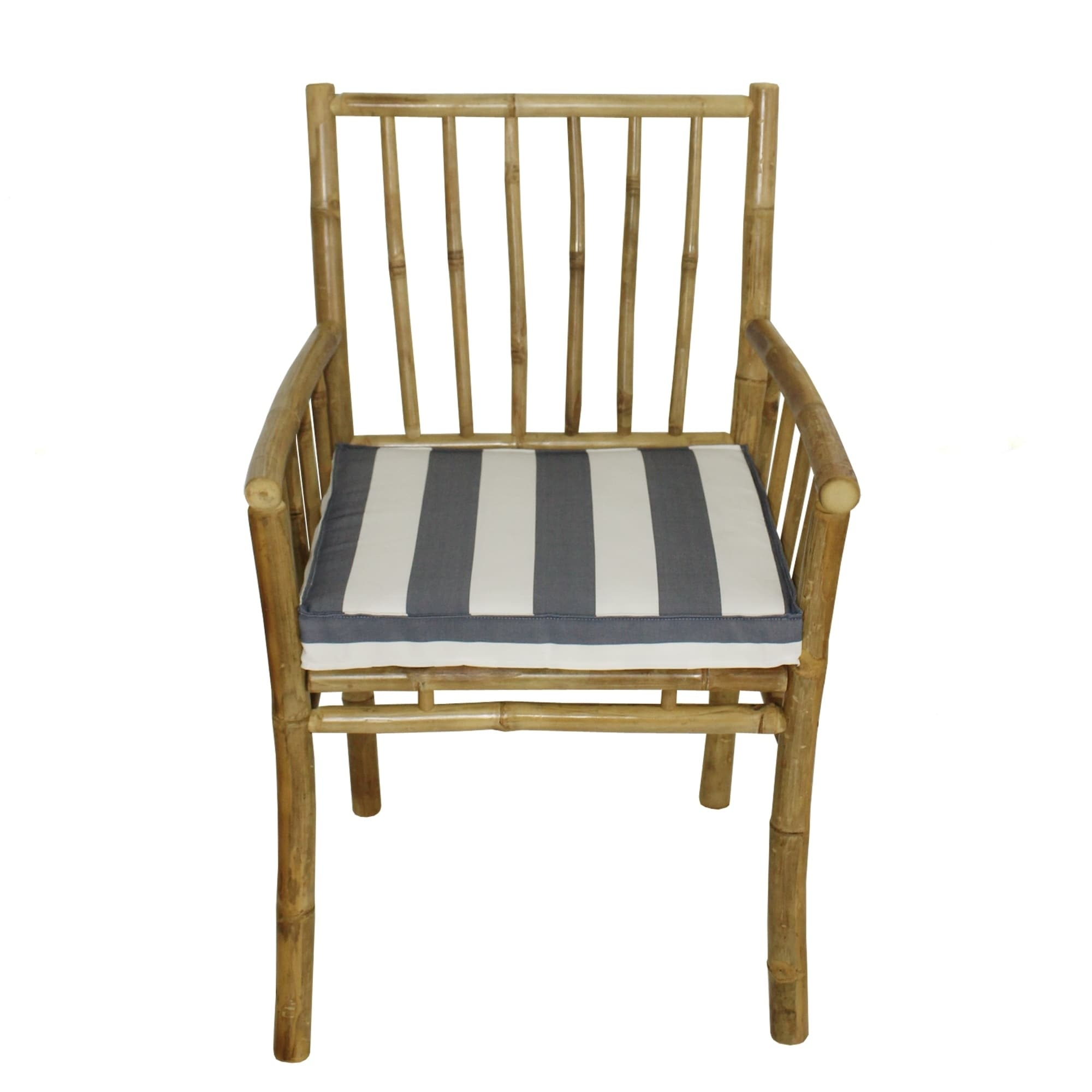 Blue And White Striped Chair Details About Bamboo Accent Dining Chair With Arm Natural Color With Blue White Stripe