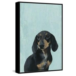'Wide Eyed Dog' Floater Framed Painting Print on Canvas - Multi-color