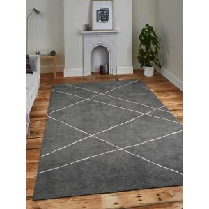 Hand Knotted Gabbeh Silk Geometric Area Rug Light Charcoal Beige - 5' x 8'