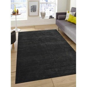 Hand Knotted Gabbeh Silk Solid Area Rug Light Charcoal