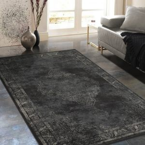 "Allstar Rugs Distressed Charcoal Grey and Beige Rectangular Accent Area Rug with Ivory Persian Design - 7' 6"" x 9' 8"""