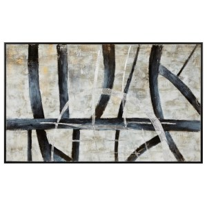 Rectangular Wooden Framed Oil Painting on Canvas, Gray and Black