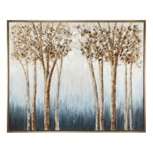 Luxurious Wooden Framed Oil Painting on Canvas, Brown and Blue