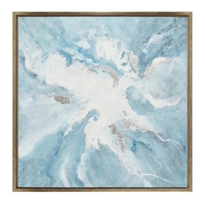 Square Wooden Framed Oil Painting on Canvas, Blue and White