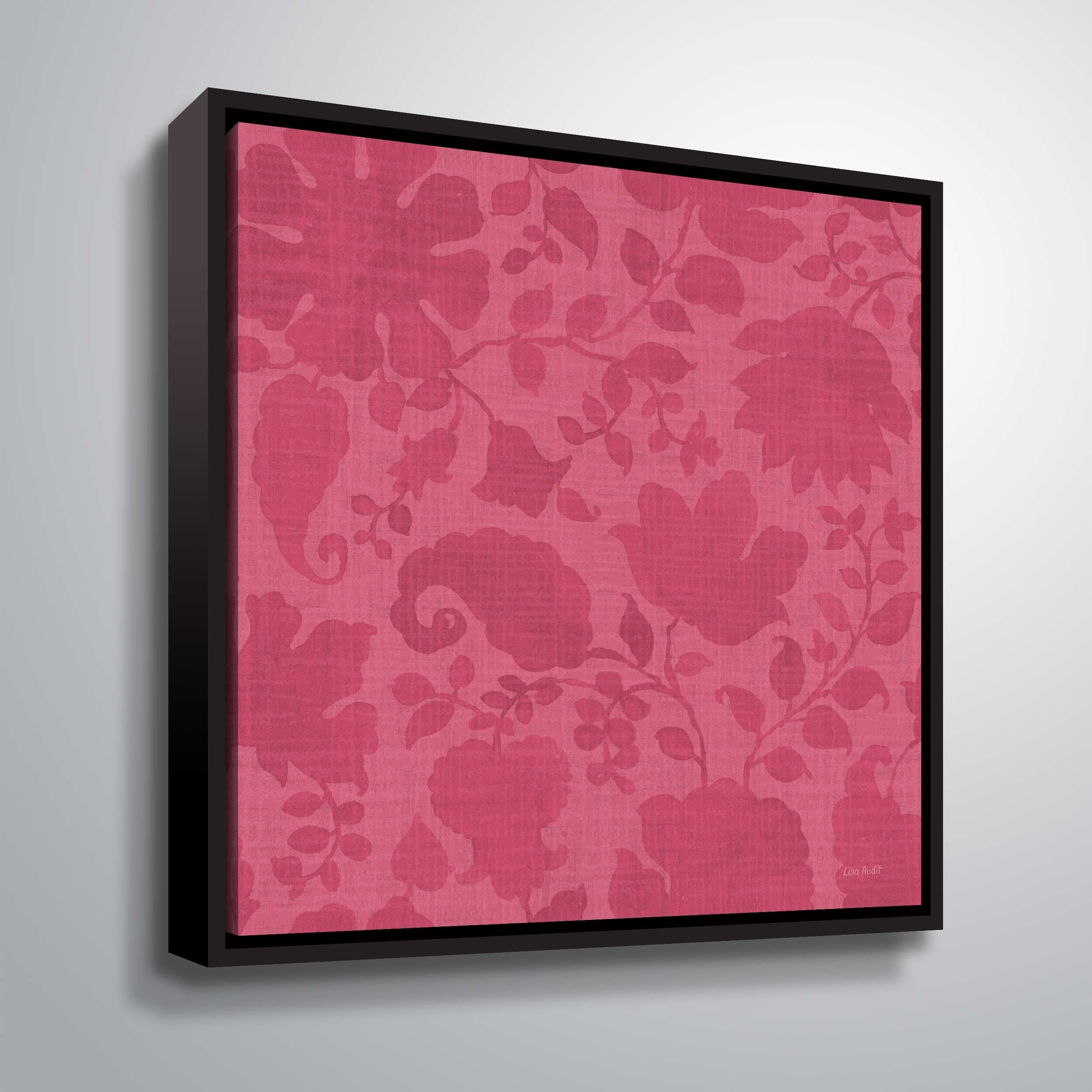 """ArtWall """"Pink Garden Step VIII"""" Gallery Wrapped Floater-framed Canvas"""