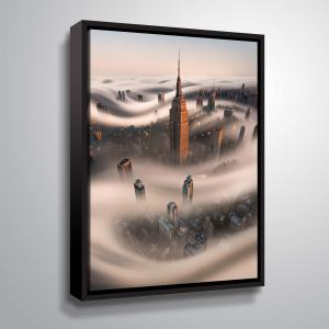 "ArtWall ""Empire Fog"" Gallery Wrapped Floater-framed Canvas"