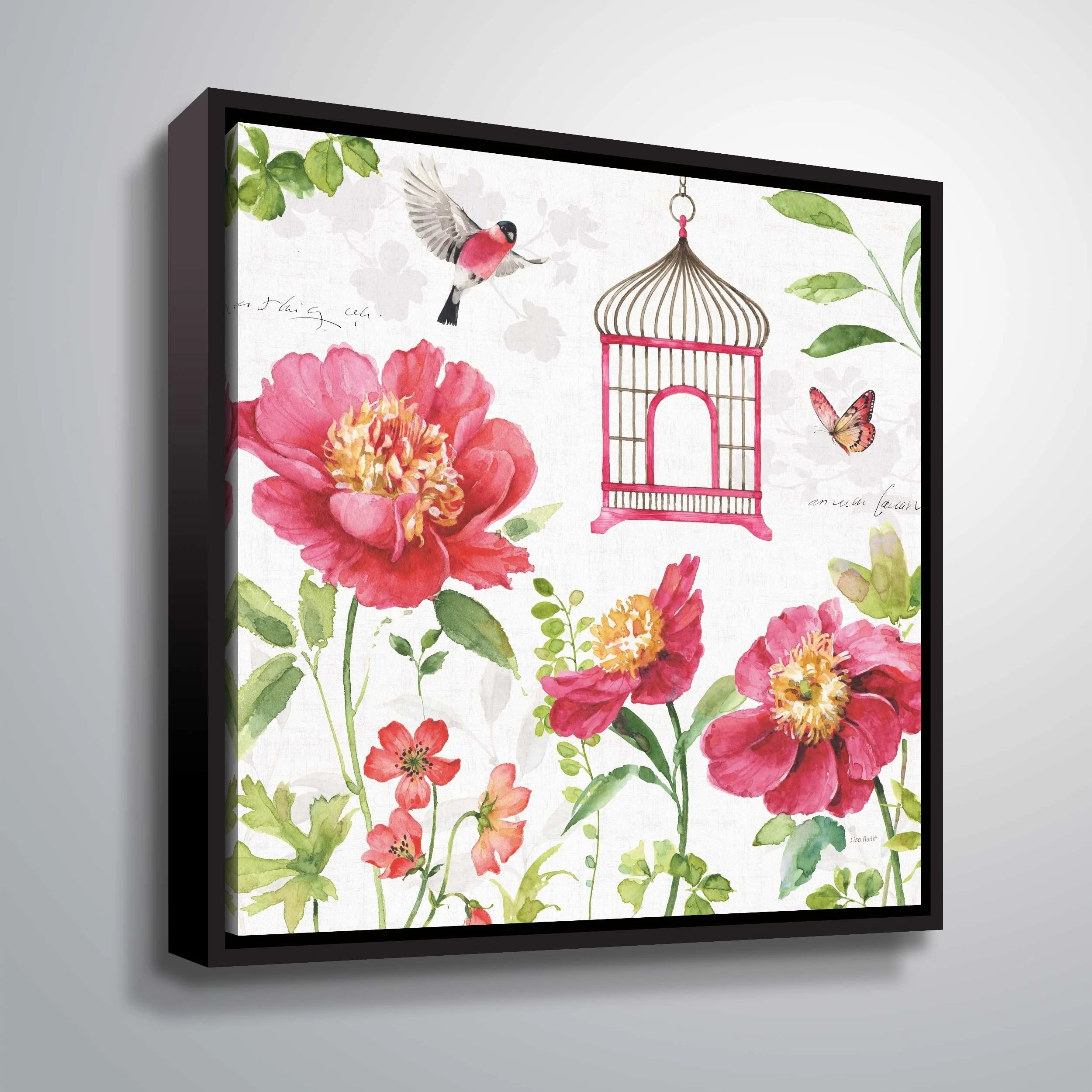"""ArtWall """"Pink Garden IV"""" Gallery Wrapped Floater-framed Canvas"""