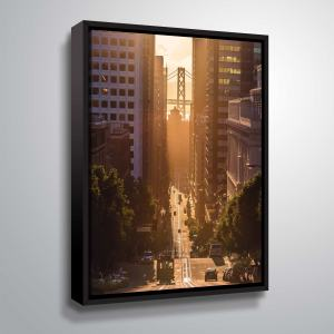 "ArtWall ""Morning Trolley II"" Gallery Wrapped Floater-framed Canvas"