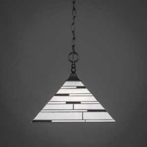 Toltec 1-light Pendant In Matte Black Finish with Square Tiffany Glass Shade