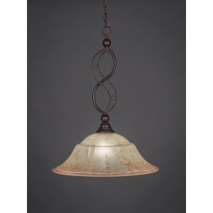 Toltec 1-light Pendant In Bronze Finish with Glass Shade