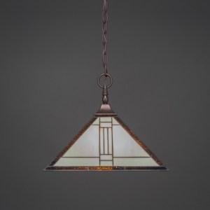 Toltec 1 Light Pendant Shown In Bronze Finish with Square Tiffany Glass Shade