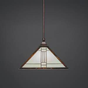 Toltec Bronze Steel 1-light Pendant with Square Tiffany Glass Shade