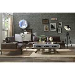 Acme Sectional Sofa Chocolate Outdoor Sleeper Shop Silchester Oak And Distressed Top Grain Leather