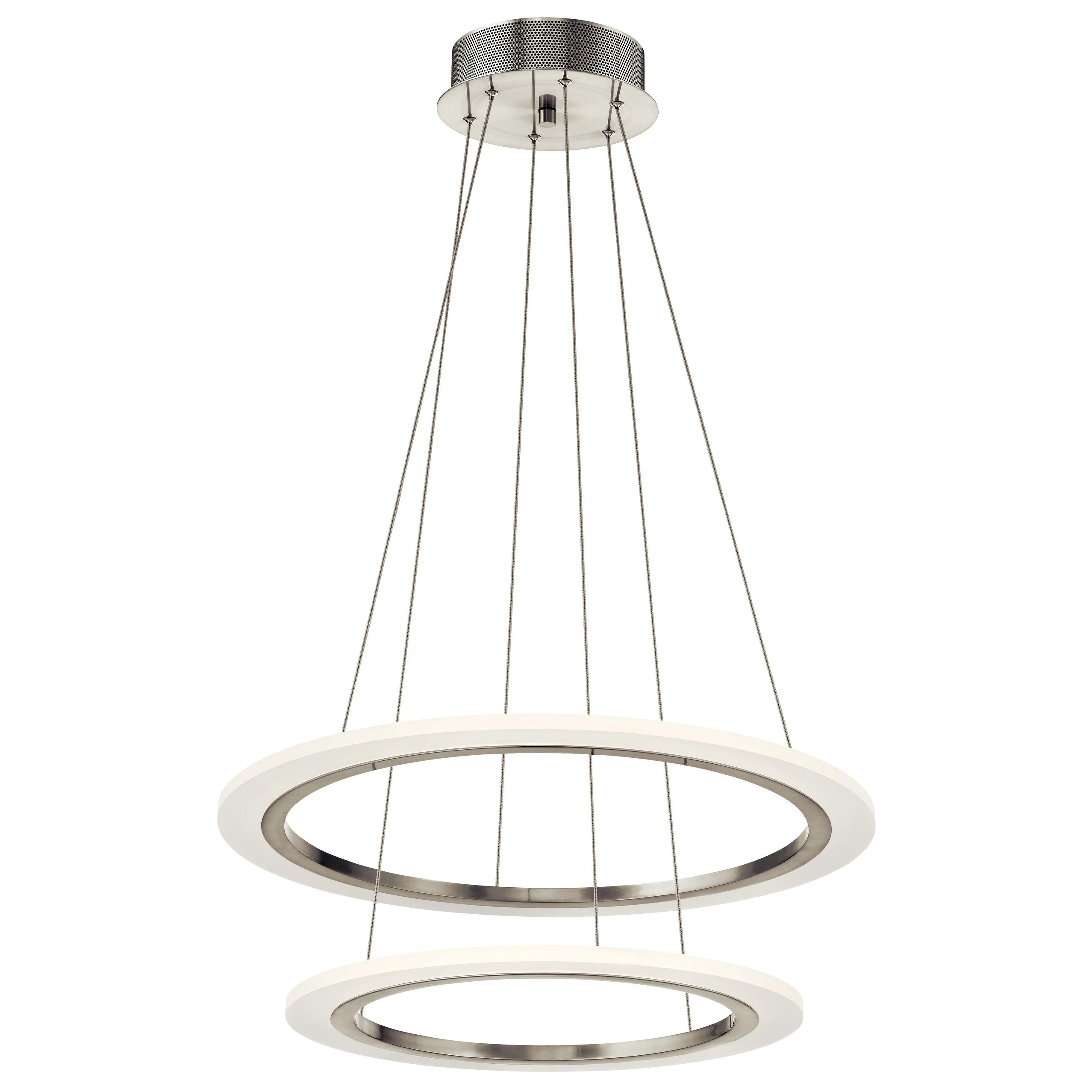 elan Hyvo Brushed Nickel Double Ring Pendant