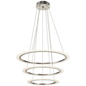 elan Hyvo Brushed Nickel Triple Ring Pendant