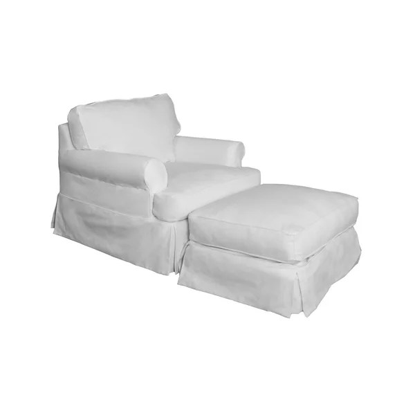white slipcover chair and ottoman old metal chairs shop sunset trading horizon t cushion set performance