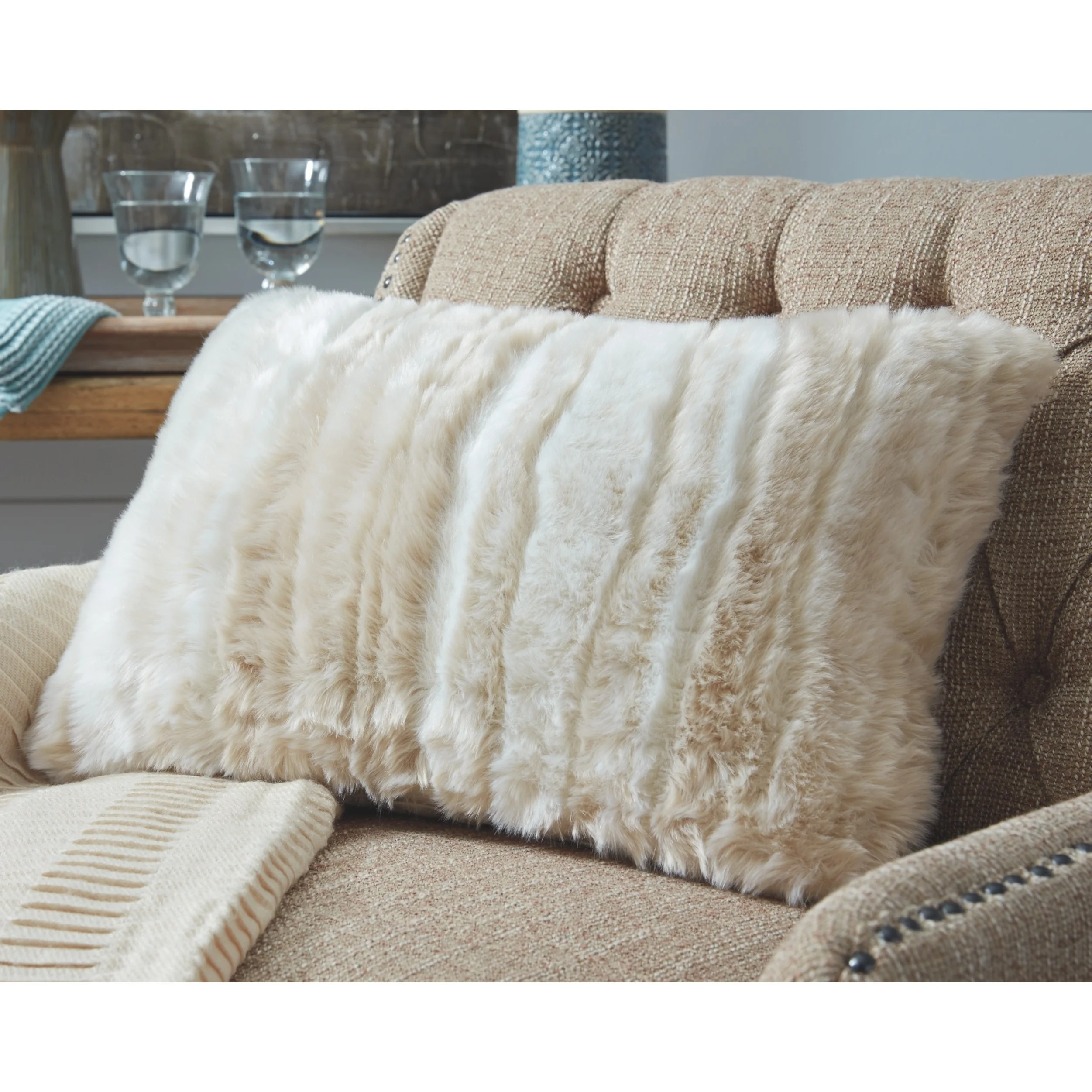 Shop Amoret Tan Faux Fur Throw Pillow On Sale Overstock 26272690
