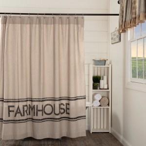 Details About Sawyer Mill Charcoal Farmhouse Shower Curtain Asphalt Khaki Shower Curtain 72x7