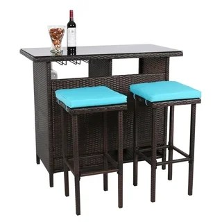 3 piece outdoor table and chairs louis chair room board buy size sets dining online at overstock com kinbor patio bar set wicker stools