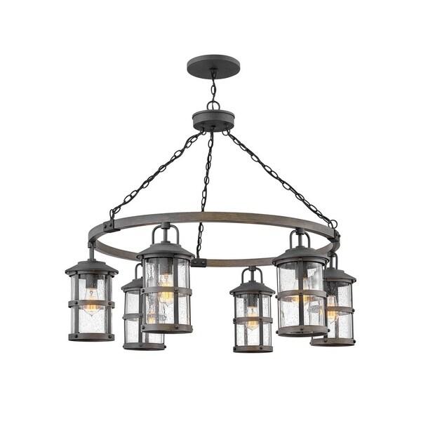 hinkley lakehouse 6 light outdoor chandelier in aged zinc