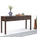 Wyndenhall Fabian Solid Wood 60 Inch Wide Contemporary Modern Wide Console Table In Warm Walnut Brown 60 W X 16 D X 30 H On Sale Overstock 26410079