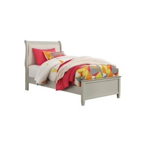 Jorstad Twin Upholstered Sleigh Headboard/Footboard - Gray