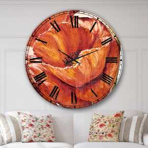 Designart 'Poppies in Wheat' Floral Oversized Metal Clock