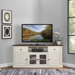 Shelby 60 Corner Tv Stand In White With Mahogany Top Overstock 26507870