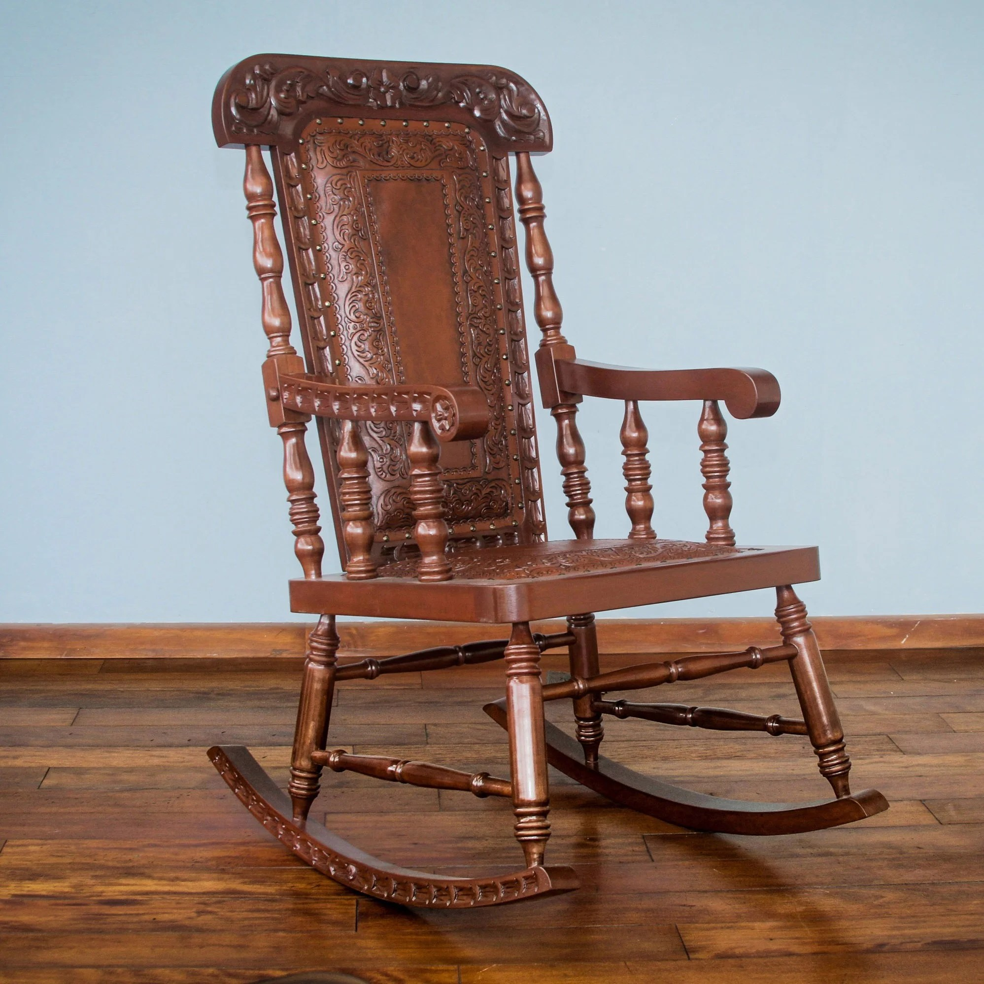 Overstock Rocking Chairs 39nobility 39 Cedar And Leather Rocking Chair Peru
