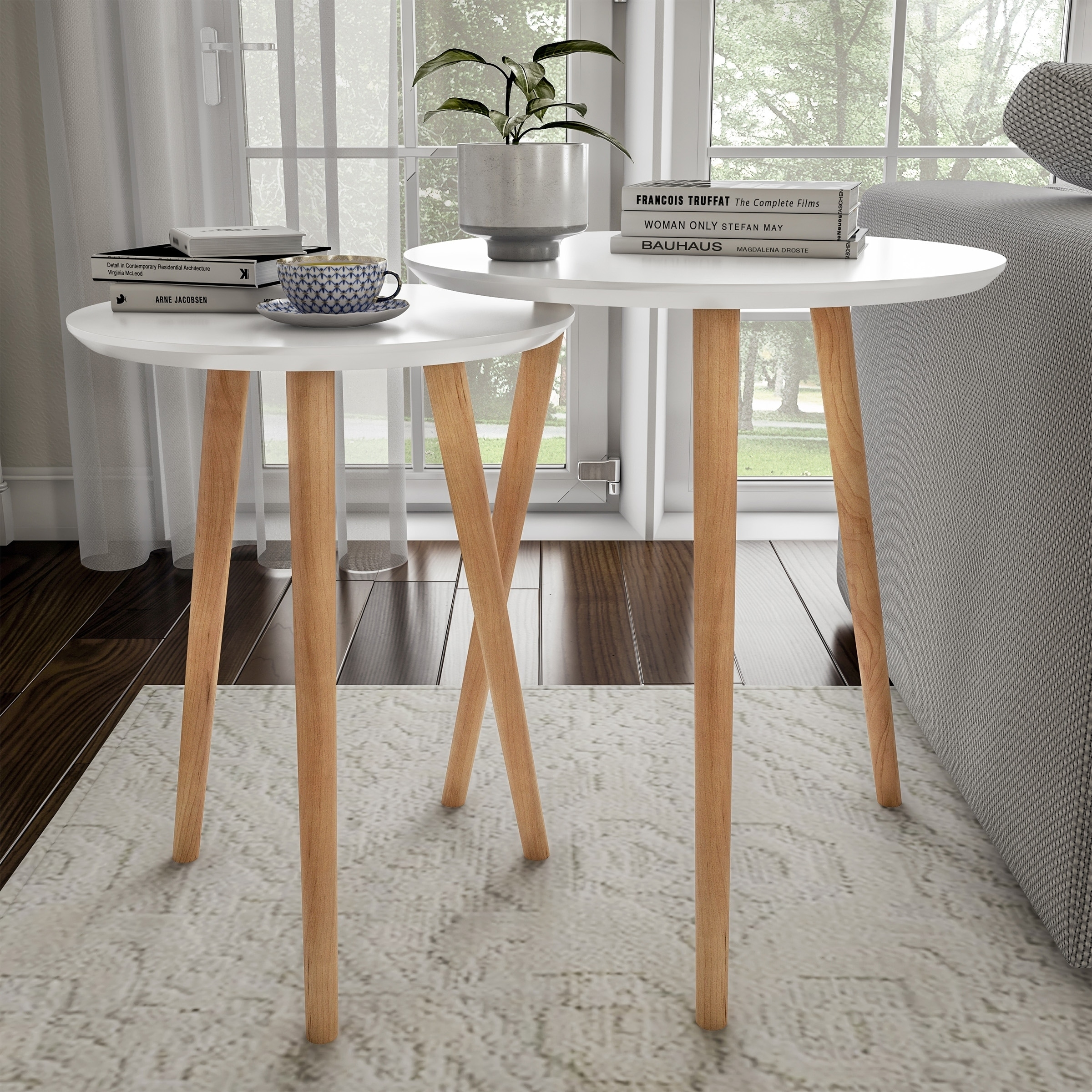 Nesting End Tables Mid Century Modern Wood Contemporary Accent Tables With Circular Top By Lavish Home Overstock 26980573