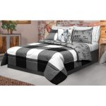 Comforter 2 Piece Set Twin Printed Buffalo Plaid White Black Overstock 26980683
