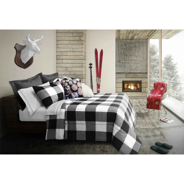 comforter set 3 piece king revers buffalo plaid white black