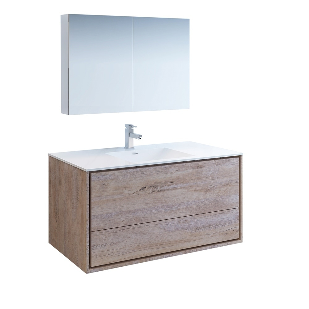 Shop Fresca Catania 48 Rustic Natural Wood Wall Hung Modern Bathroom Vanity W Medicine Cabinet Overstock 27034132