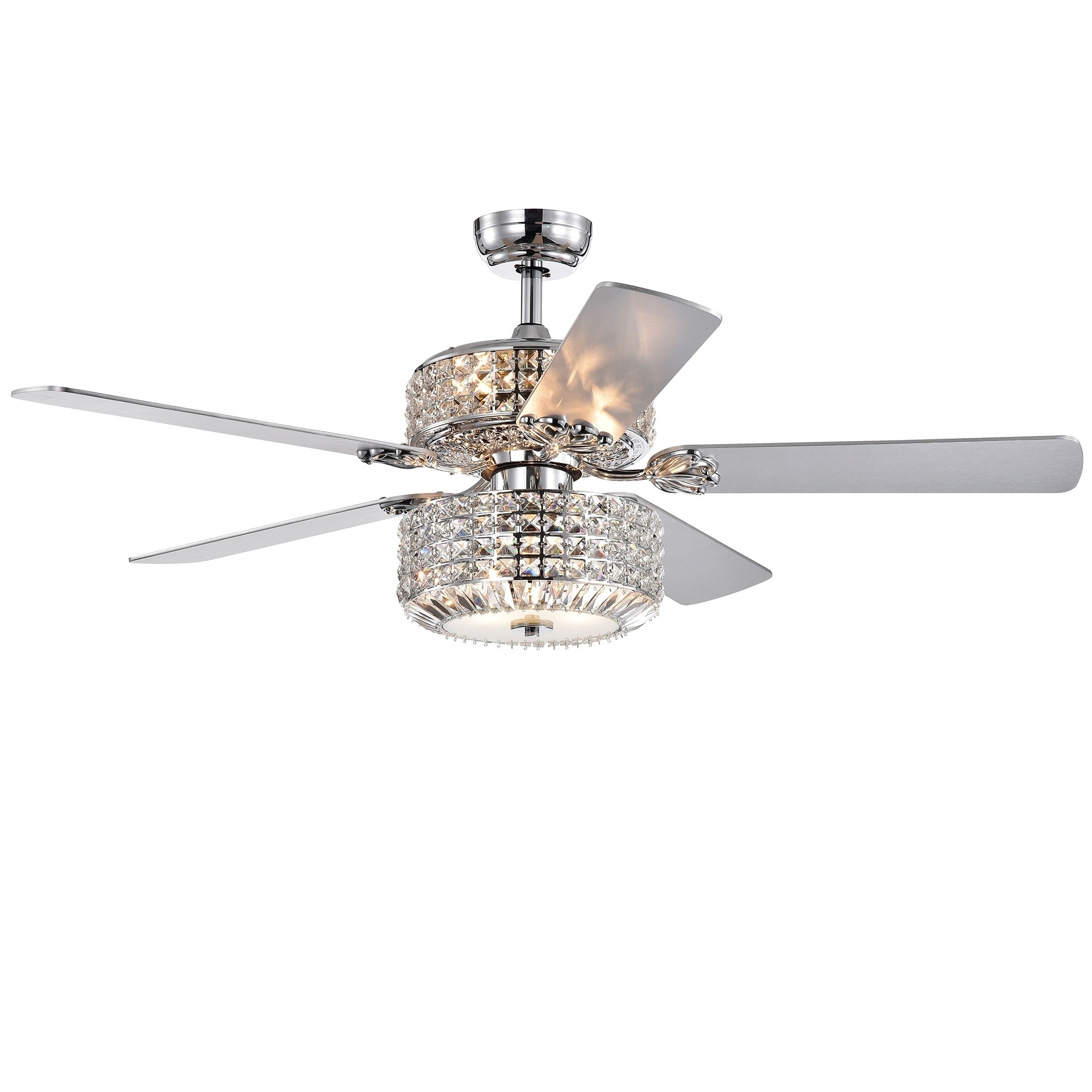 Shop Black Friday Deals On Walter Dual Lamp Chrome 52 Inch Lighted Ceiling Fan W Crystal Shades Optional Remote Incl 2 Color Blade Options Overstock 27034736 Chrome Pull Chain