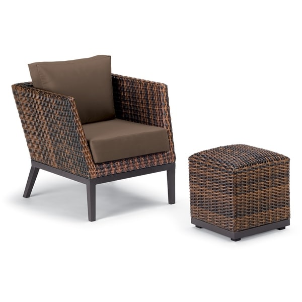 resin wicker chair with ottoman special needs bath shop oxford garden salino 2 piece sable woven club and pouf lounge set toast cushions free shipping today overstock com