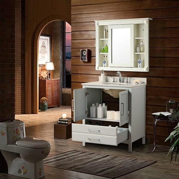 Shop Vanity Art 30 Single Sink Bathroom Vanity Set 1 Shelf 2 Drawers Small Bathroom Storage Floor Cabinet With White Marble Top On Sale Overstock 27120209