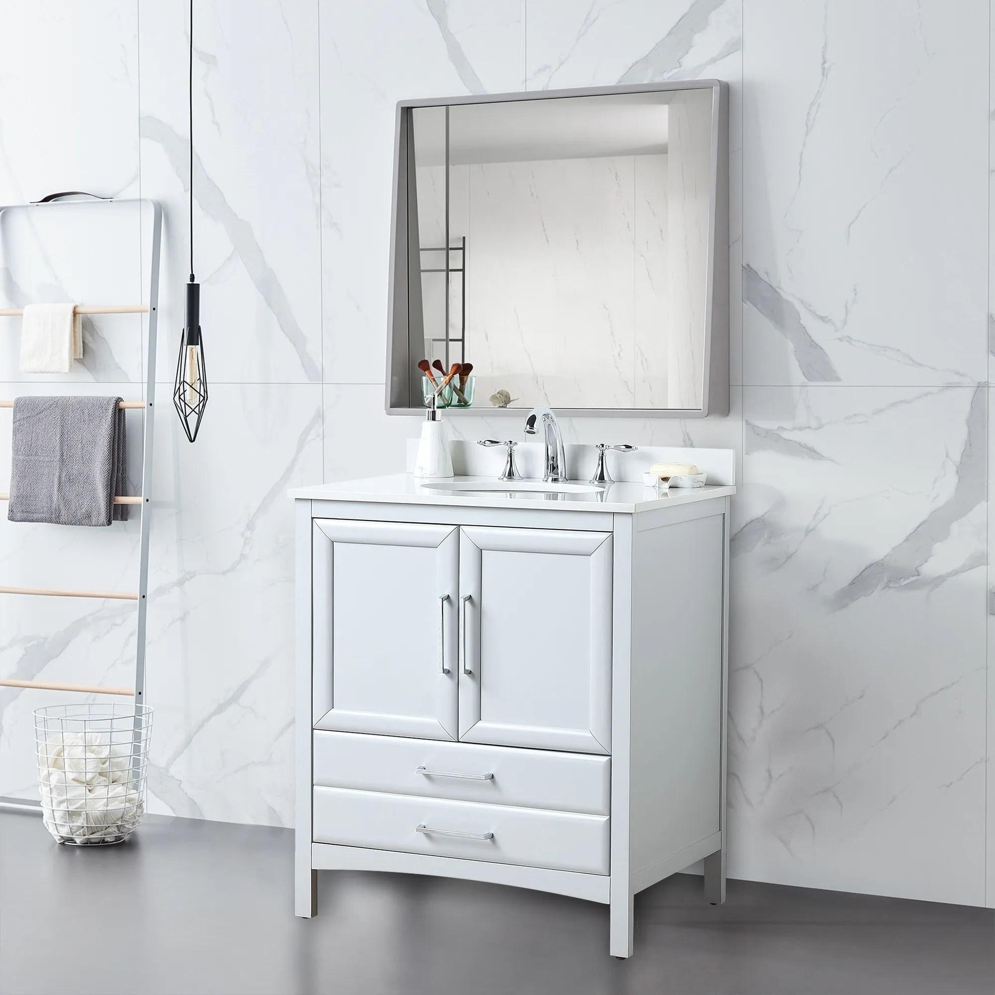 vanity art 30 single sink bathroom vanity set 1 shelf 2 drawers small bathroom storage floor cabinet with white marble top