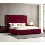 Blauvelt Queen Size Red Velvet Upholstered Platform Bed With Gold Accents On Sale Overstock 27129638