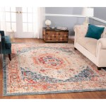 The Curated Nomad Nob Hill Distressed Beige Blue Oriental Rug