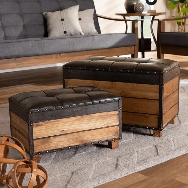 chocolate brown leather sectional sofa with 2 storage ottomans gray fabric sofas shop rustic dark faux piece wood trunk ottoman set