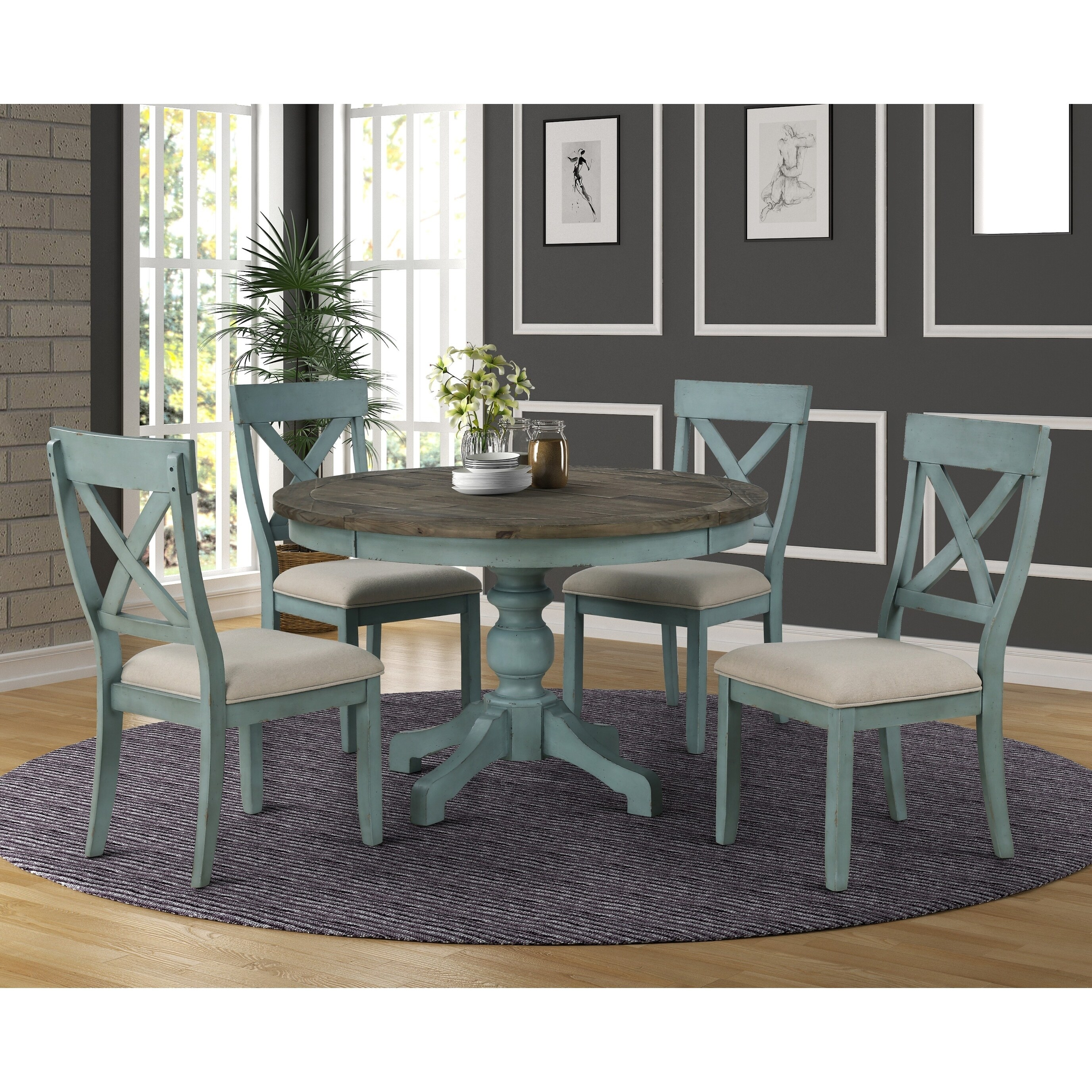Prato Round Blue And Brown Two Tone Finish Wood Dining Table Overstock 27175695