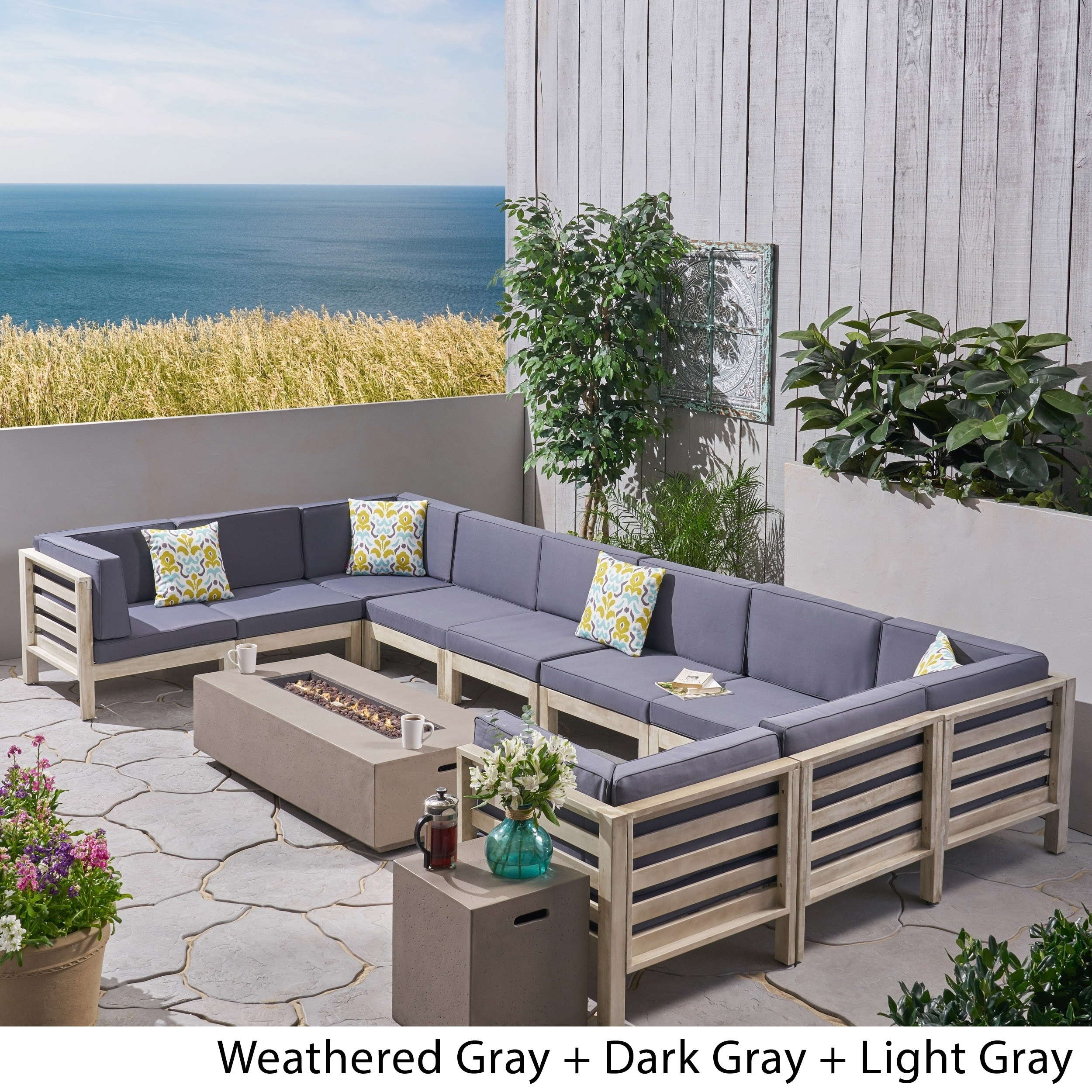 oana outdoor 10 seater u shaped acacia wood sectional sofa set with fire pit by christopher knight home