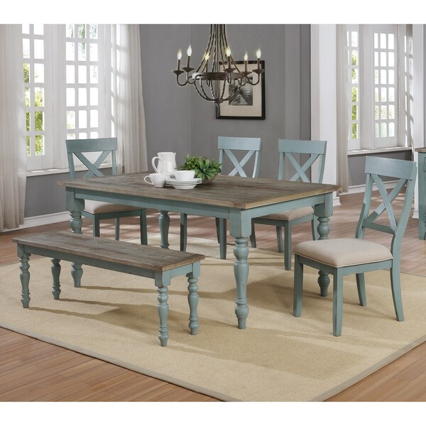 Shop Prato 6 Piece Weathered Brown Blue Dining Table Set On Sale Overstock 27192171