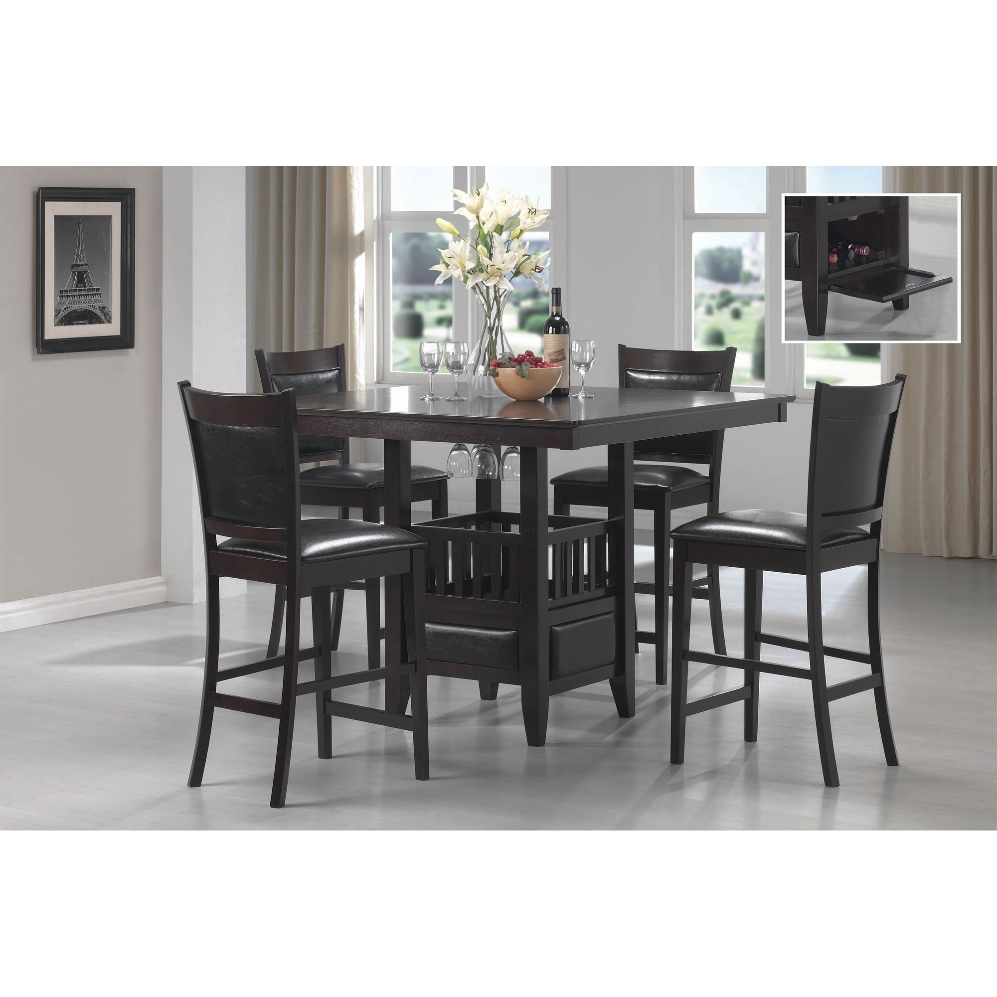 Shop Finley Black 5 Piece Counter Height Dining Set On Sale Overstock 27348598