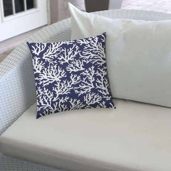 coral reef royal indoor outdoor pillow sewn closure